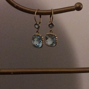 Gold and blue topaz earrings